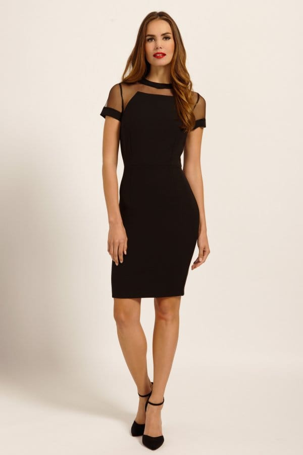 Black Short Sleeve Mesh Panel Detail Bodycon Dress