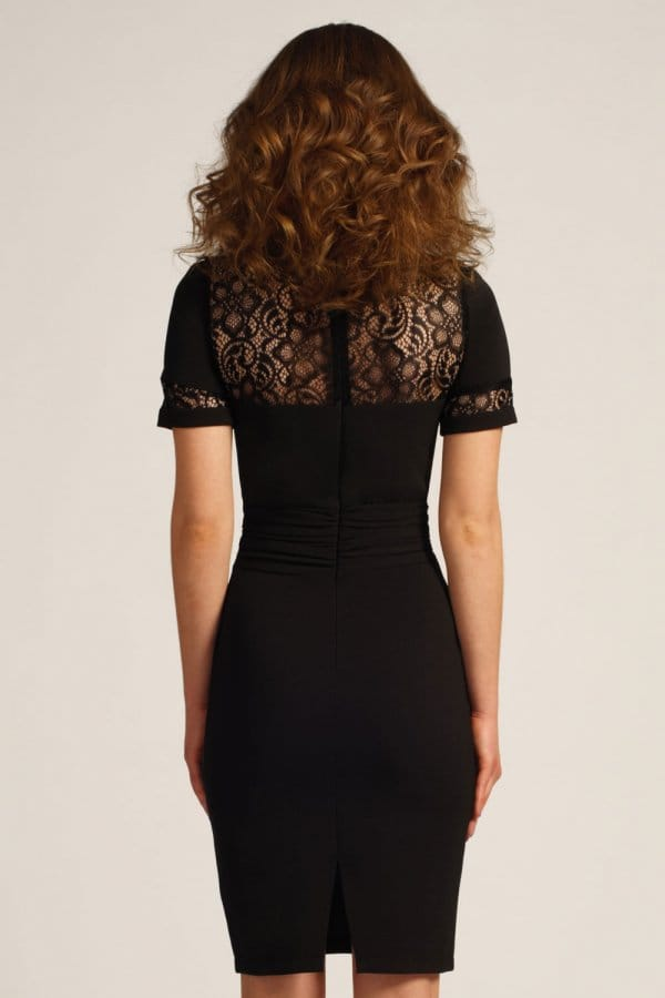 Paper dolls black pleated front lace detail bodycon dress