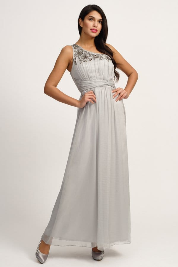 Grey Embellished One Shoulder Maxi Dress