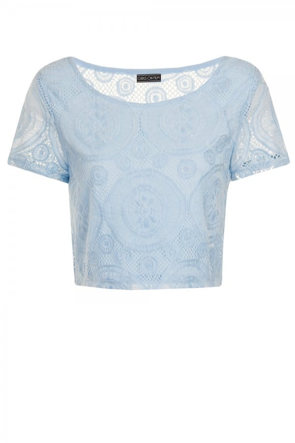 Outlet Girls On Film Baby Blue Cap Sleeve Lace Overlay