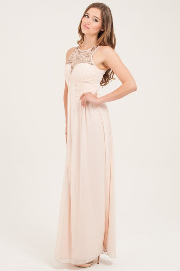 Nude Heavily Embellished Maxi Dress