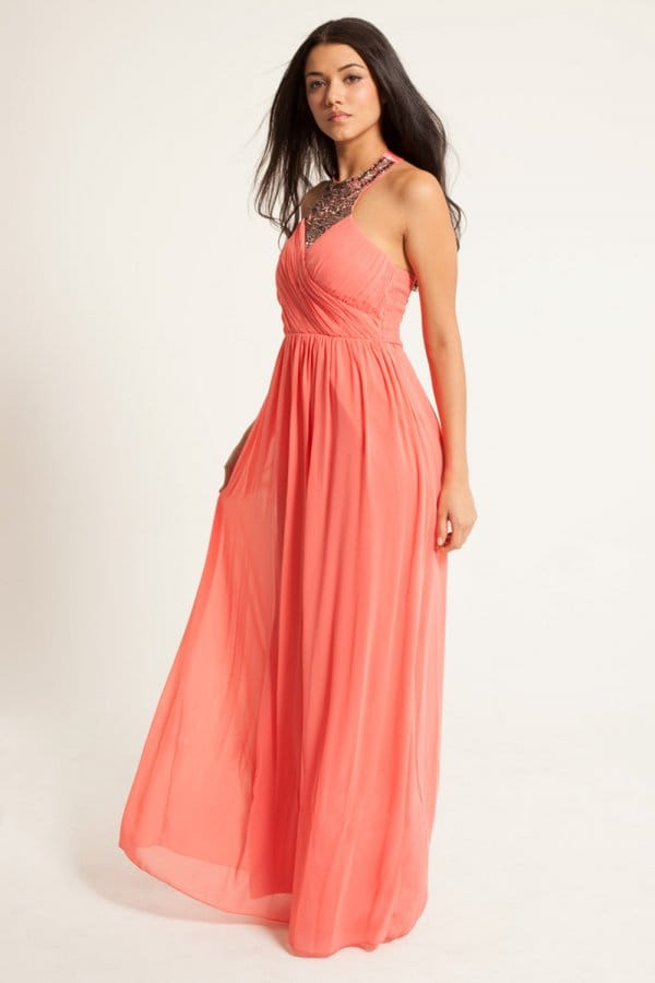 Images of Coral Chiffon Maxi Dress - Reikian