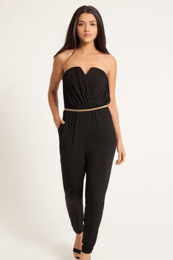 Black Crossover Belted Bandeau Jumpsuit - from Little Mistress UK