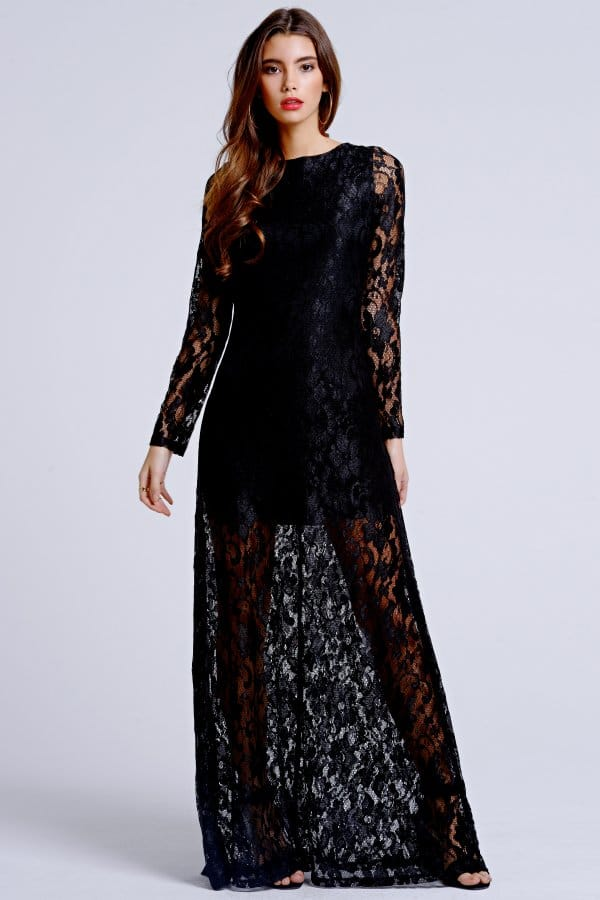 Outlet Girls On Film Black Lace Sleeve Maxi Dress - Outlet Girls ...