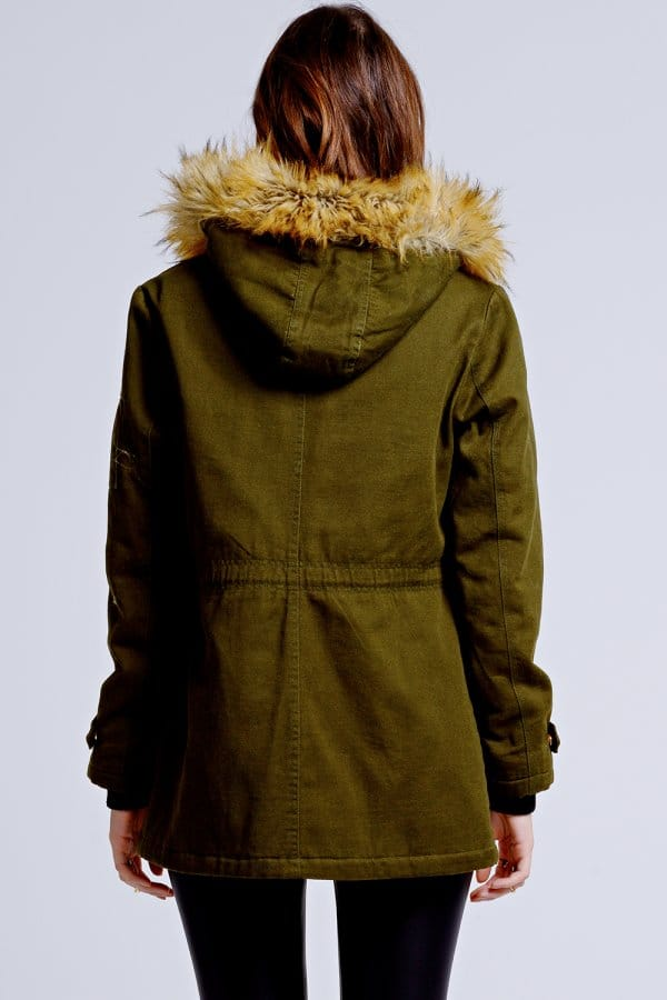 Girls on Film Khaki Fur Trim Hooded Parka Jacket - Girls On Film