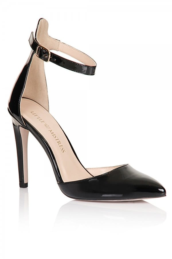 Grace Ankle Strap Shoes - Black. LINKSHARE. Pointed heeled court shoes with wide ankle strap in black. Heel height is approximately 5