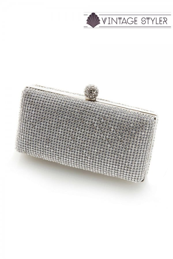 8cd6aa75a5e Vintage Styler Eleanor silver diamante clutch bag - Vintage Styler ...