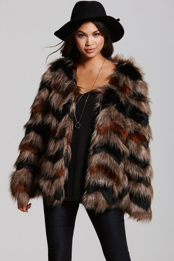 Little Mistress Mink and Black Chevron Faux Fur Coat - Little