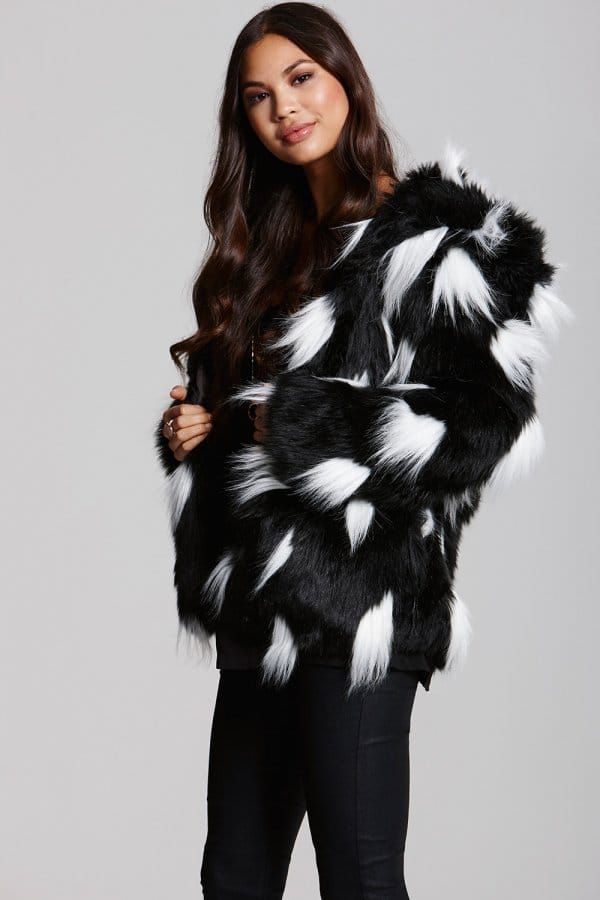 Little Mistress Black and White Faux Fur Coat - Little Mistress ...
