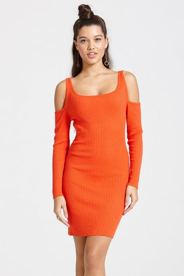 Tomato Colour Ribbed Jumper Bodycon