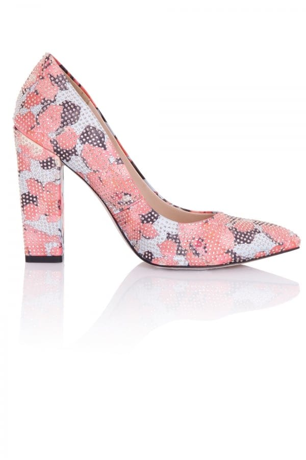 Stockists of Asteria Coral Floral Embellished Block Heel Court