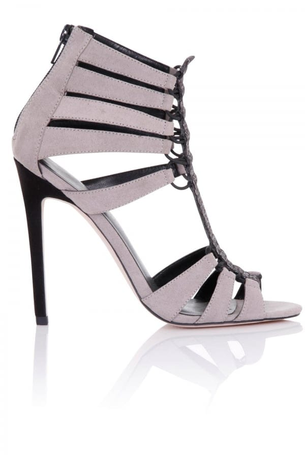 Little Mistress Footwear Athena Grey Cage Heeled Sandals size: Footwea
