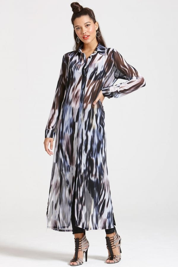 Outlet Girls On Film Printed Chiffon Maxi Shirt Dress - Outlet ...