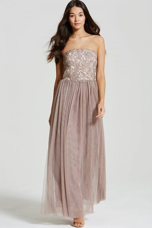 755fdbf4bc8 Nude and Mocha Lace Overlay Bandeau Maxi Dress - from Little Mistress UK