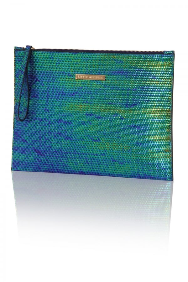 Little Mistress Handbags Blue And Green Iridescent Flat Clutch Bagclass