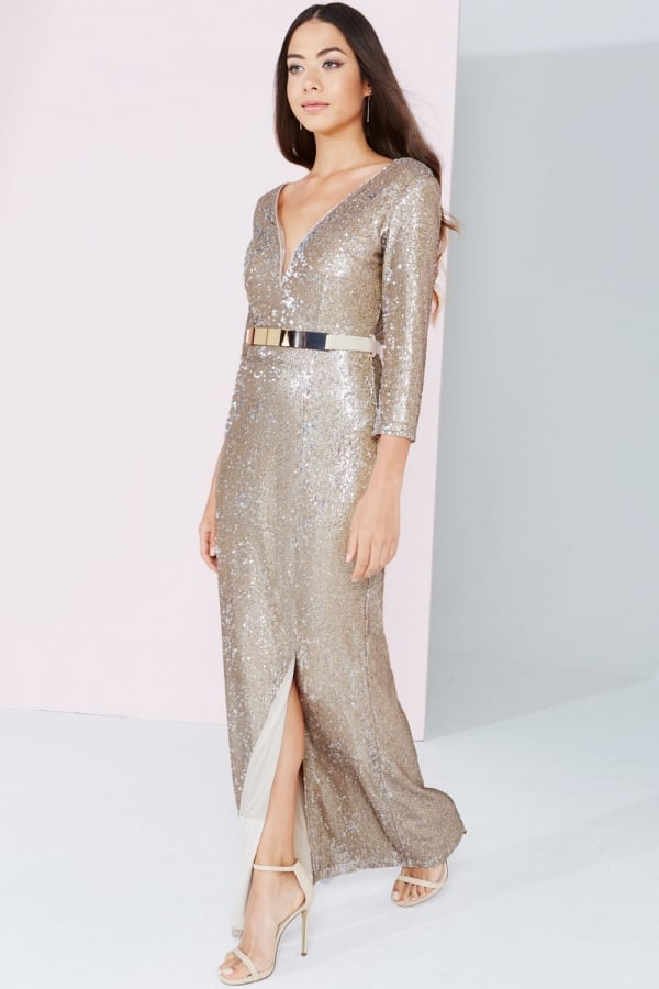 1b10fb1c1f3 Little Mistress Gold Sequin Maxi Dress - Little Mistress from Little ...