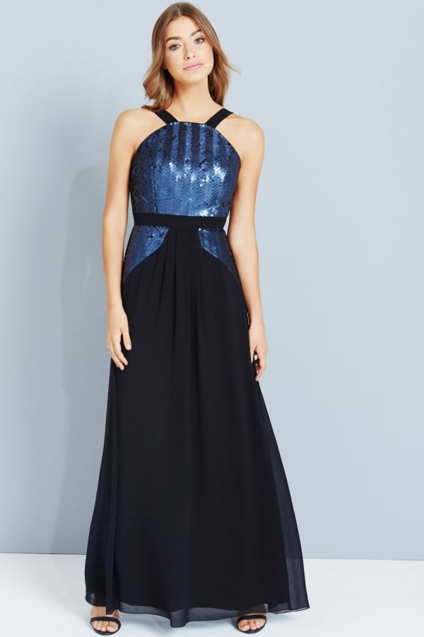 Black And Navy Sequin Maxi Dress - from Little Mistress UK