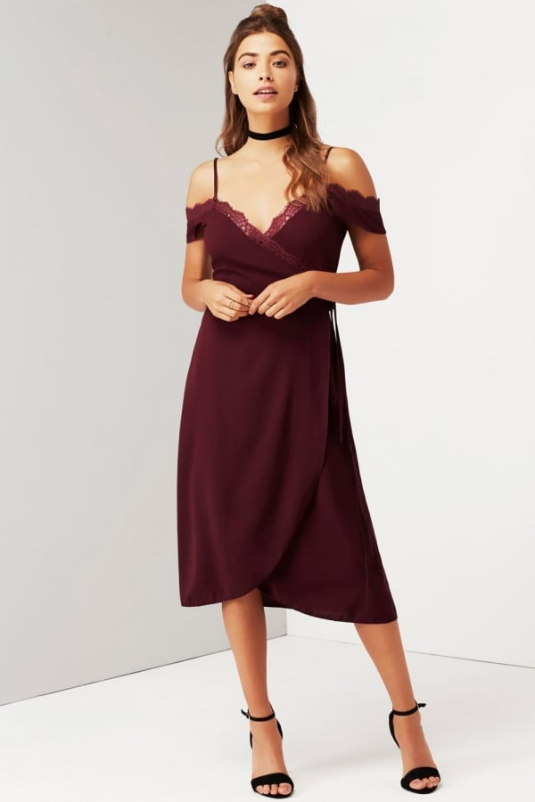 e87fbf0b8e6f Girls on Film Wine Off The Shoulder Dress With Lace - Girls On Film from  Little Mistress UK