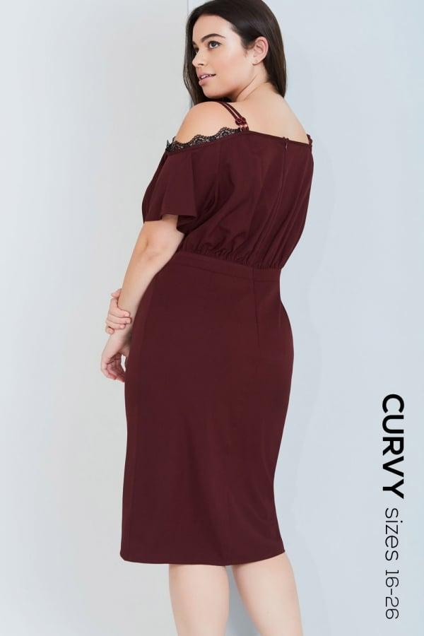 549cdafd6e ... Girls On Film Curvy Burgundy Off The Shoulder Dress With Laceclass  ...