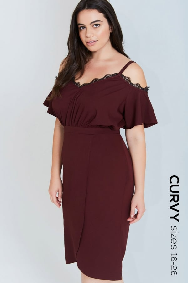803d217aa6 Girls On Film Curvy Burgundy Off The Shoulder Dress With Laceclass  ...