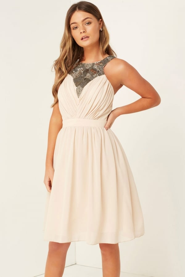 Sequin Trim Prom Dress - Beige Little Mistress Latest Cheap Price Free Shipping Low Shipping Clearance Latest Collections 47HtX