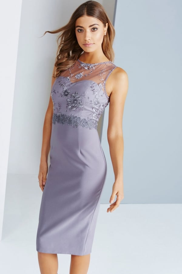 db1c9ad850a Little Mistress Grey Lace And Embroidered Midi Dress - Little Mistress from Little  Mistress UK