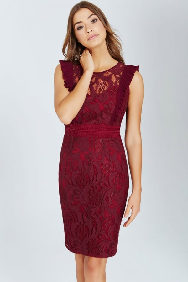 Maroon Lace Bodycon Dress With Ruffle - from Little Mistress UK bf6bb39a6587