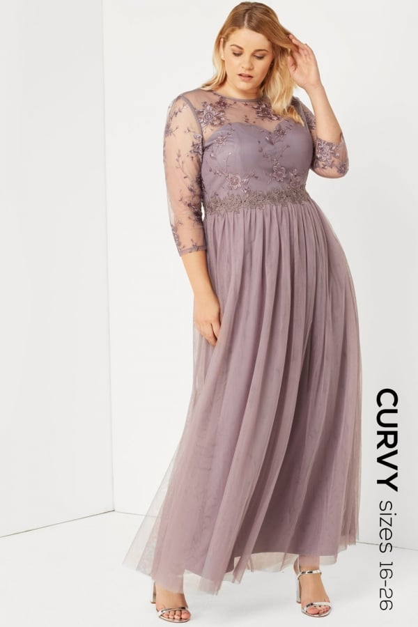 ae59ad99805 Little Mistress Curvy Grey Lace And Embroidered Maxi Dress - Little Mistress  Curvy from Little Mistress UK
