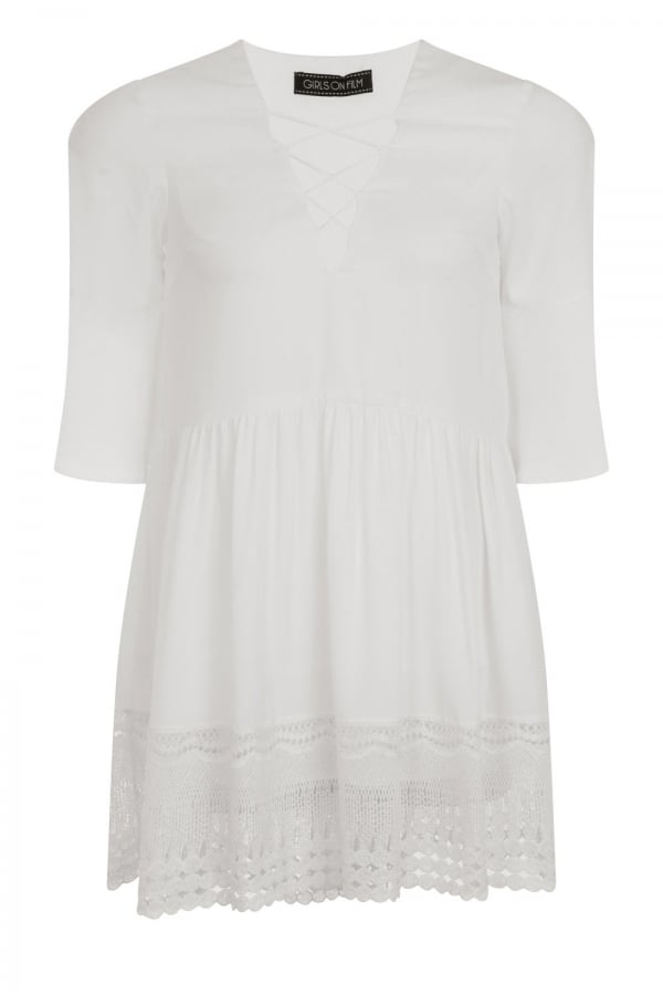 White Hippy Dress With Crossed String Chest Detail