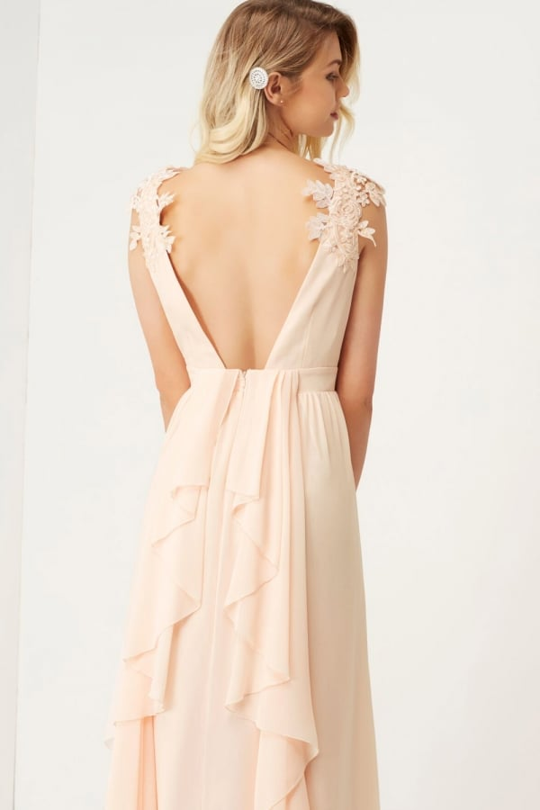 Maxi Dress with Floral Applique - Nude Little Mistress kyT7atWMm