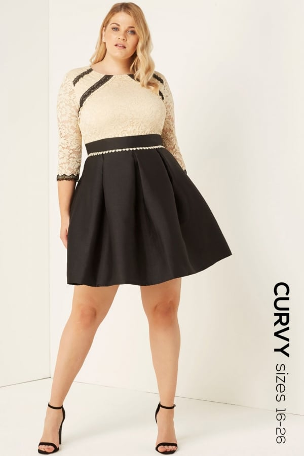 Stockists of Beige Lace Fit and Flare Dress