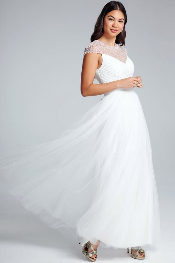 great discount sale professional website new products Little Mistress White Beaded Maxi Dress - Little Mistress ...