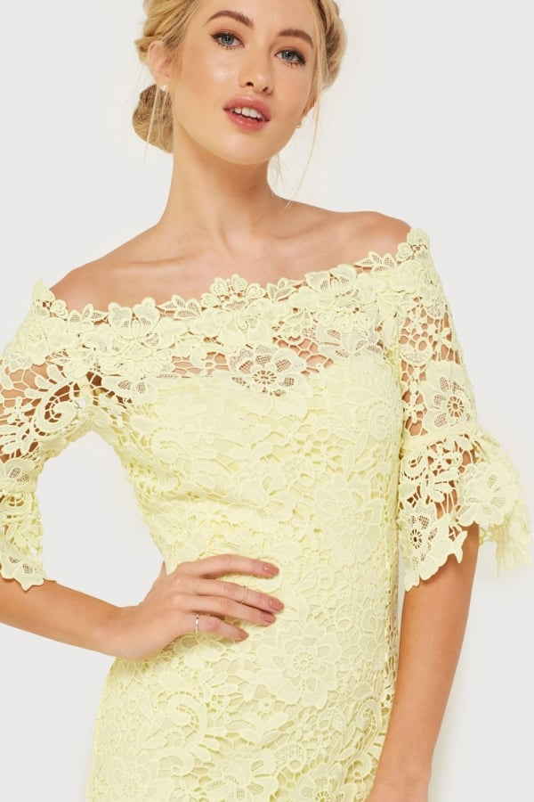 Outlet Paper Dolls Yellow Crochet Dress