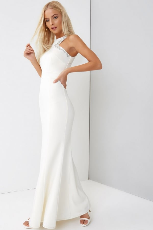 Little Mistress Cream Maxi Wedding Dress
