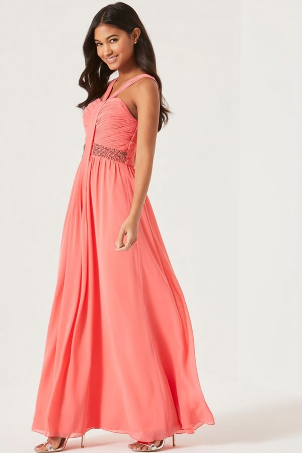 346d253521 Coral Embellished Waist Maxi Dress - from Little Mistress UK