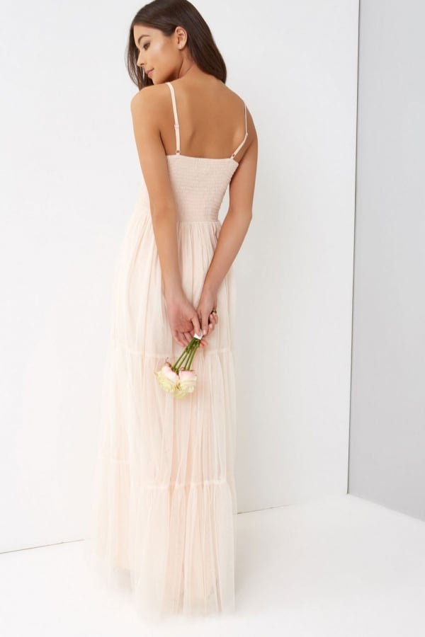 ... Little Mistress Nude Tulle Maxi Dressclass= ...