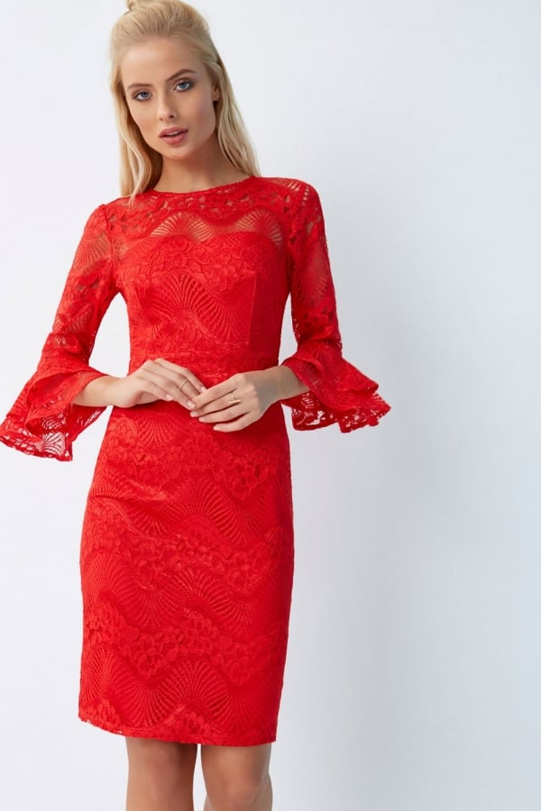 ce2cf19f4b8243 Red Lace Bodycon Dress - from Little Mistress UK