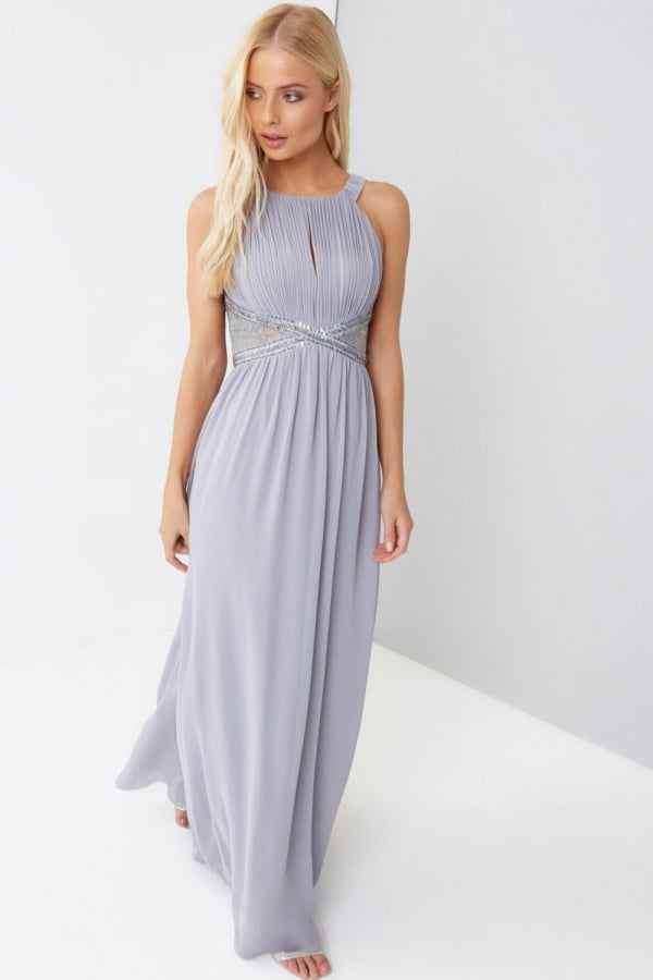 Lace Panelled Maxi Dress - Lemon Little Mistress scPuW