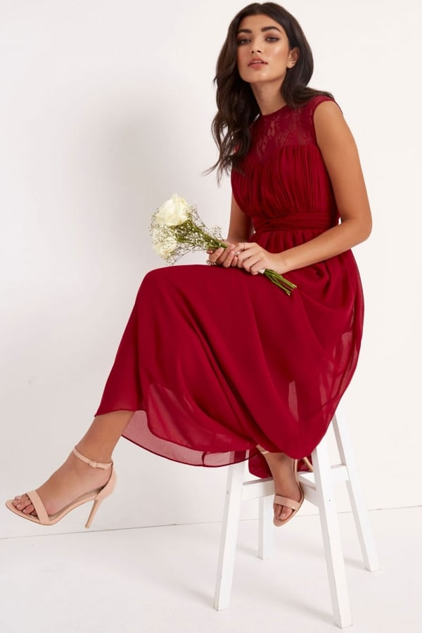 Stockists of Berry Sheer Lace Maxi Dress