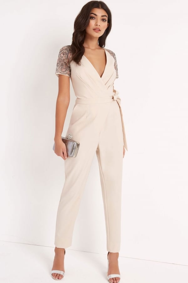 Cream wrap jumpsuit from little mistress uk - Jumpsuit zur hochzeit ...