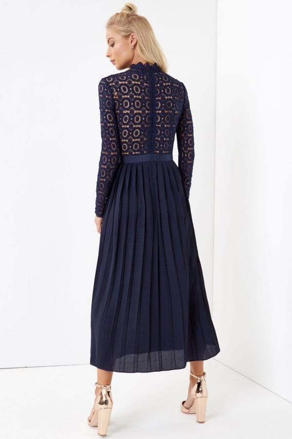 Little Mistress Alice Navy Crochet Lace Midi Dress with Pleats ...