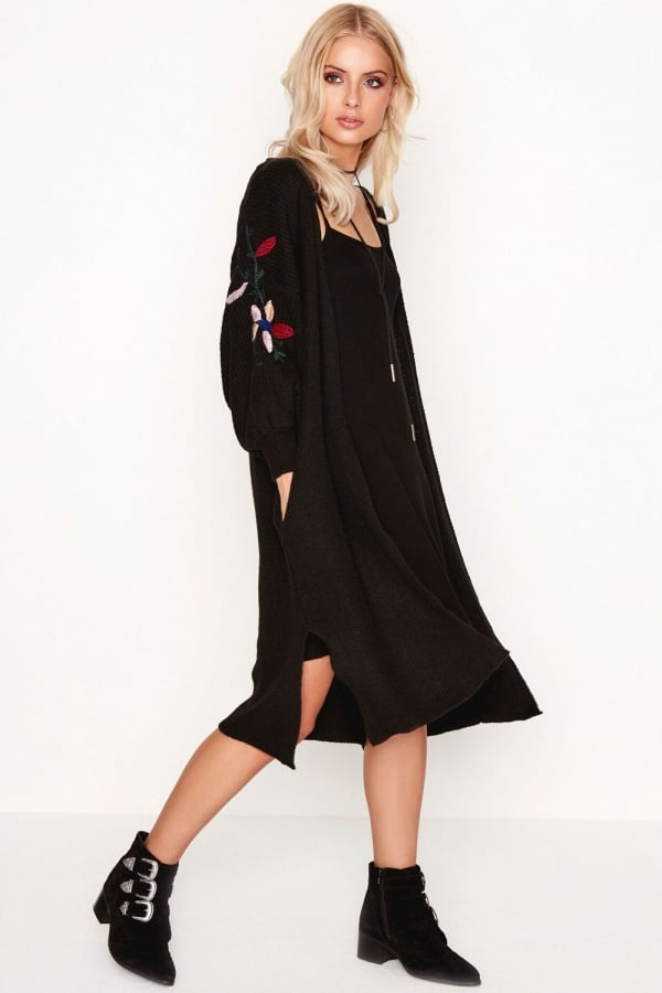 Girls on Film Black Embroidered Cardi