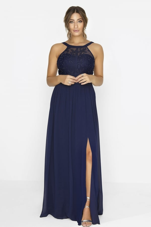 meticulous dyeing processes sale uk great discount for Navy Maxi Dress - from Little Mistress UK