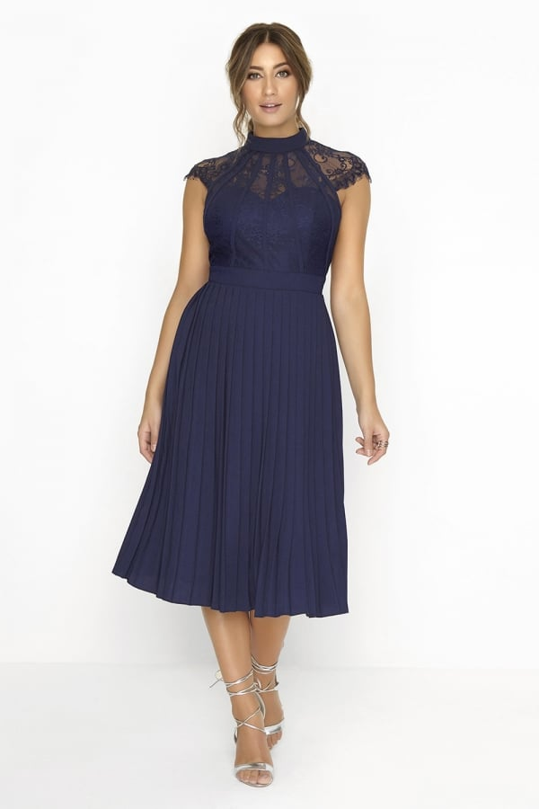 Little Mistress Navy Pleated Midi Dress