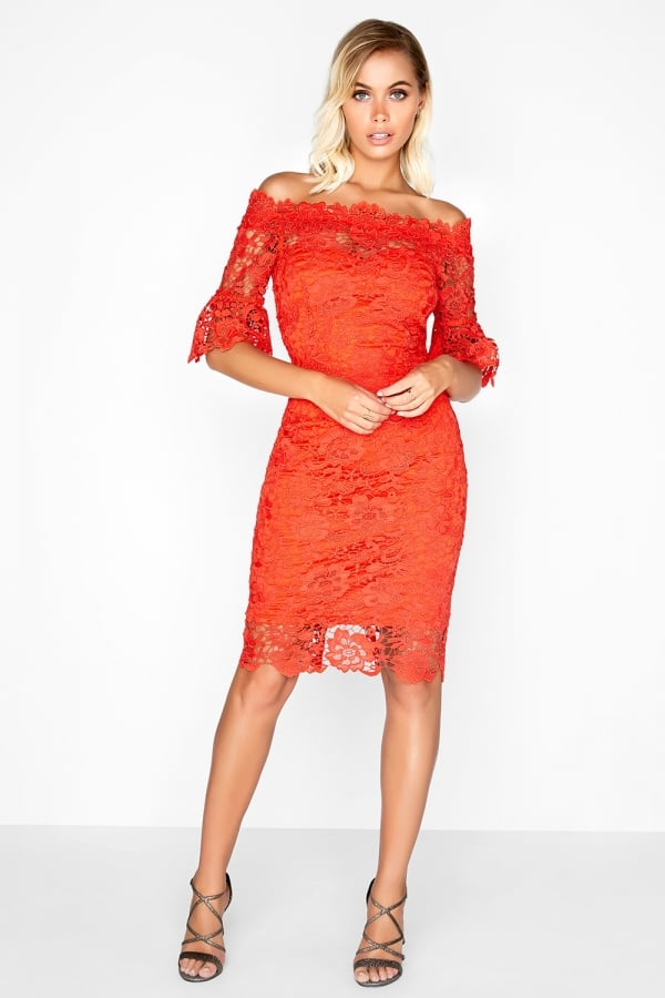 8f5dcbab641 Outlet Paper Dolls Red Crochet Lace Bardot Dress - Outlet Paper ...