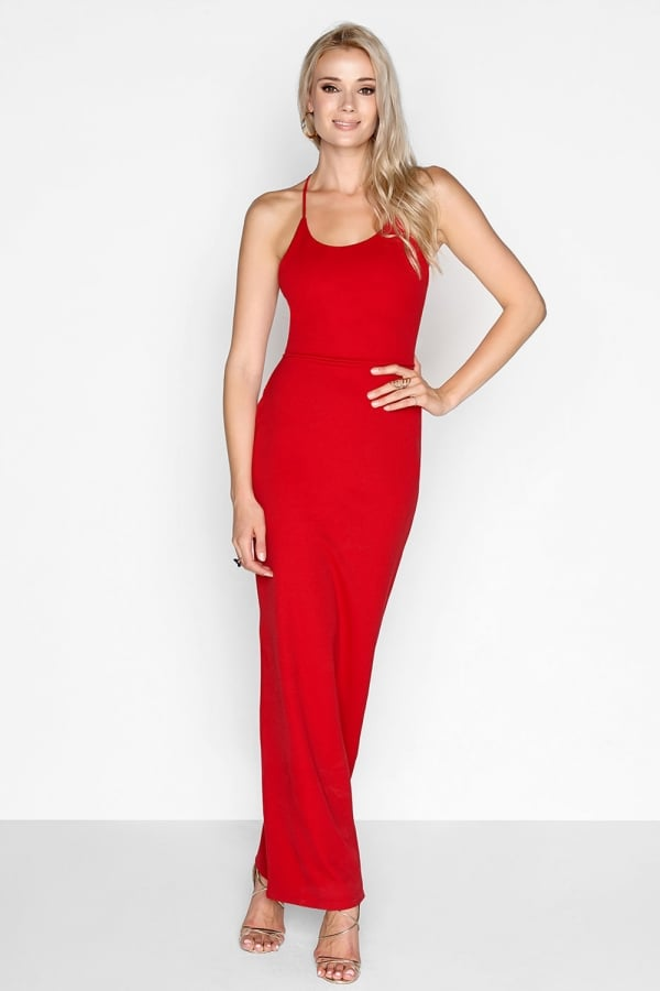 Red Lace Back Maxi