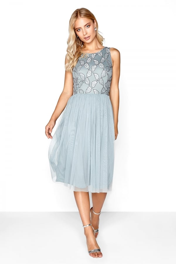 Grey Embroidered Midi - from Little Mistress UK 01606f9e417