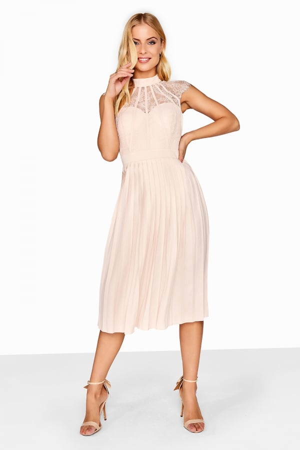 93949cae0fff3 Nude Pleated Midi Dress - from Little Mistress UK