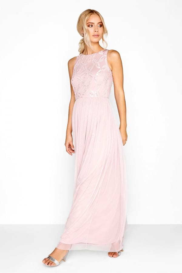 836af555416 Little Mistress Pink Embroidered Maxi Dress - Little Mistress from ...