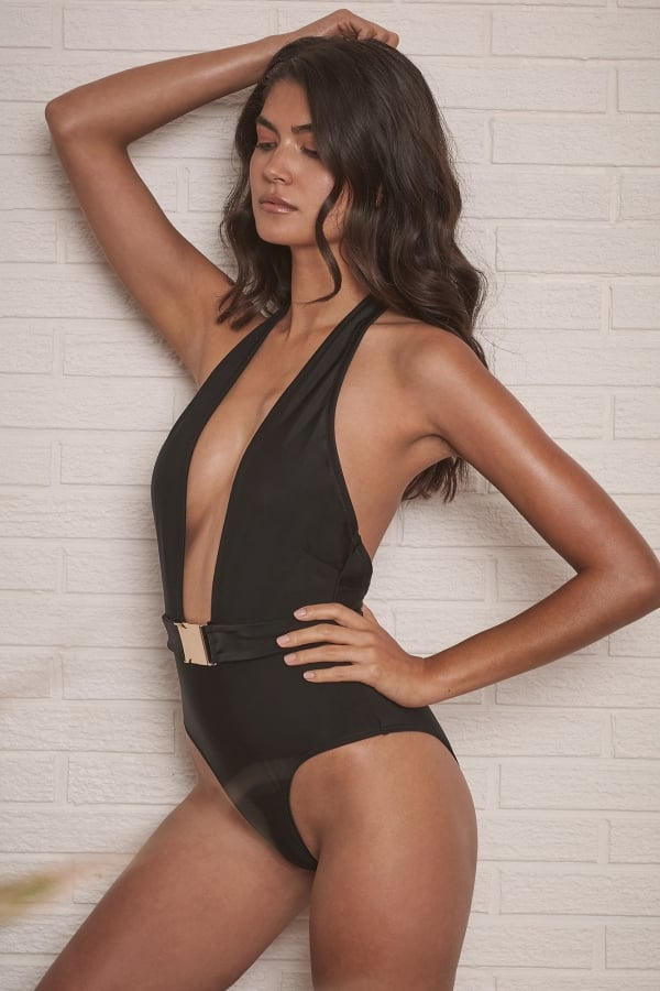 33f46db618390 Wolf and Whistle Black Plunge Swimsuit - Wolf And Whistle from ...